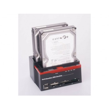 Multi-function HDD USB 2.0 to SATA Dual-docking Station for 2.5/3.5 SATA HDD Enclosure