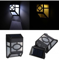 2 LED Waterproof Outdoor Solar Powered Lamps Wall Mount Garden Path Yard Landscape Lights