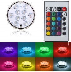 Multi-Colors RGB Submersible Waterproof LED Light Base with Remote Controller(set of 1 light+1 remote)